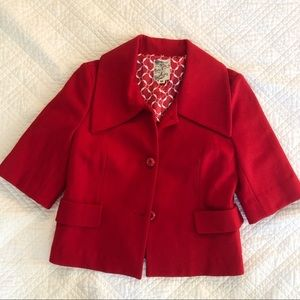 Tulle Wool Blend Button Jacket 3/4 Sleeve Red Sz M